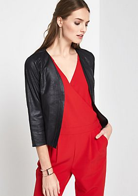 Soft short blazer in a faux leather from comma