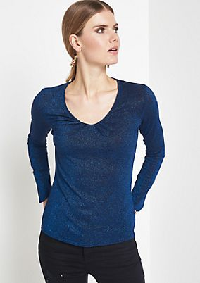 Long sleeve top made of glitter effect yarn from comma