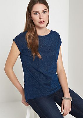 Glamorous short sleeve T-shirt in glitter thread from comma