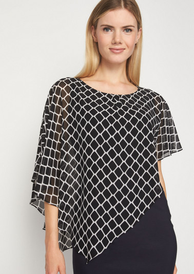Asymmetric crêpe blouse with a graphic pattern from comma