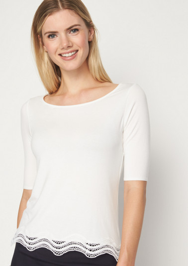 Short sleeve jersey top with lace embellishment from comma