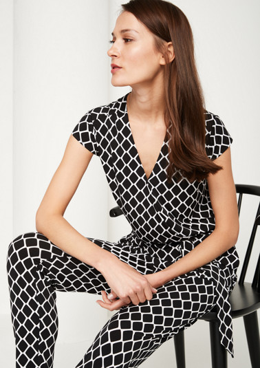 Smart jumpsuit with a decorative all-over pattern from comma