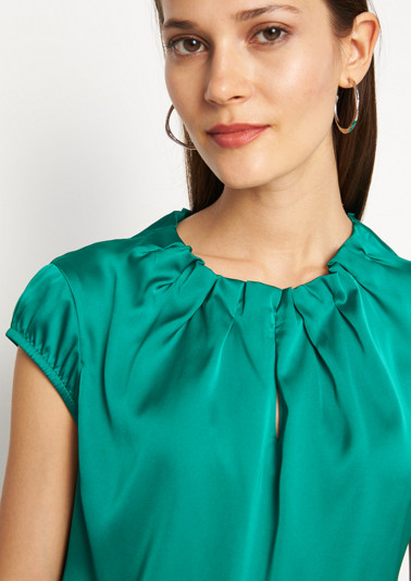 Satin blouse with subtle pleats from comma