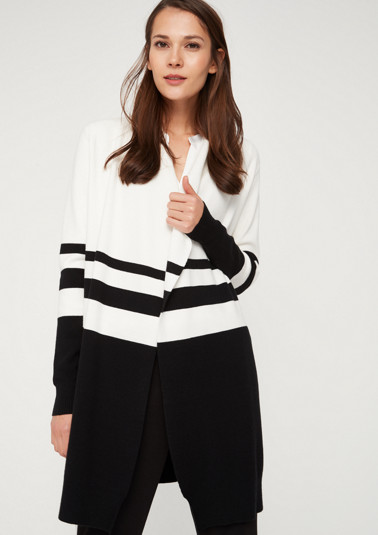 Long cardigan with a sophisticated striped pattern from comma