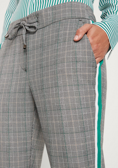 Checked trousers with side stripes from comma