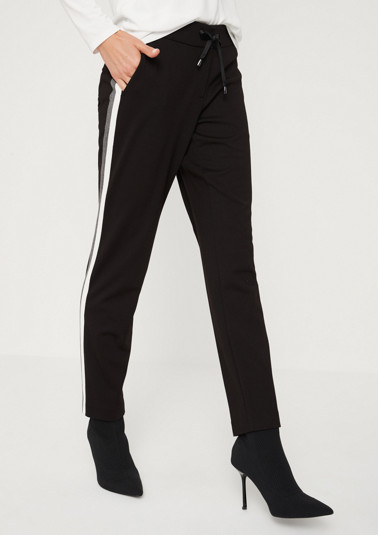 Casual trousers with contrasting side stripes from comma
