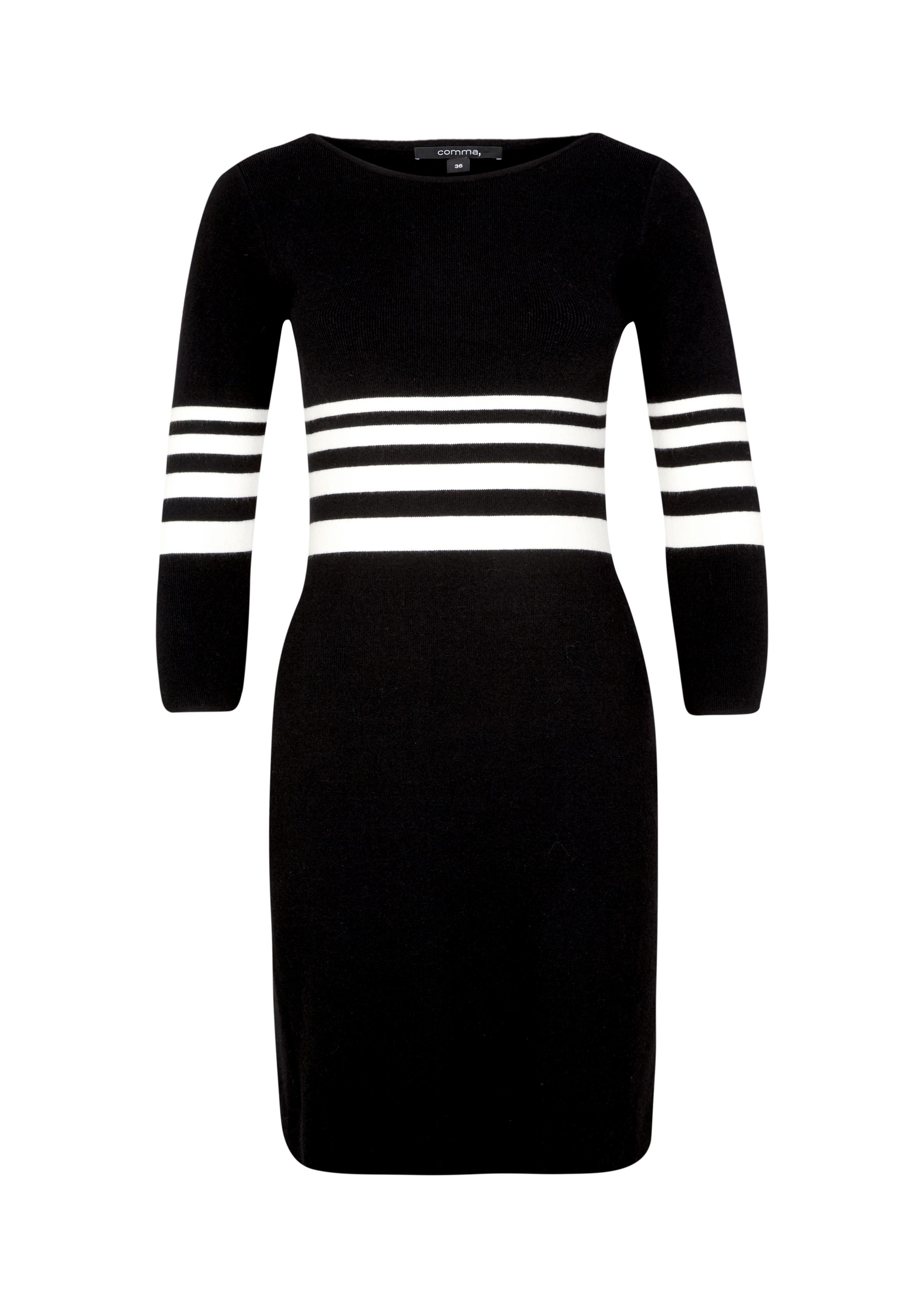Strickkleid | Bekleidung > Kleider > Strickkleider | Grau/schwarz | 51% vikose -  29% polyester -  20% nylon | comma