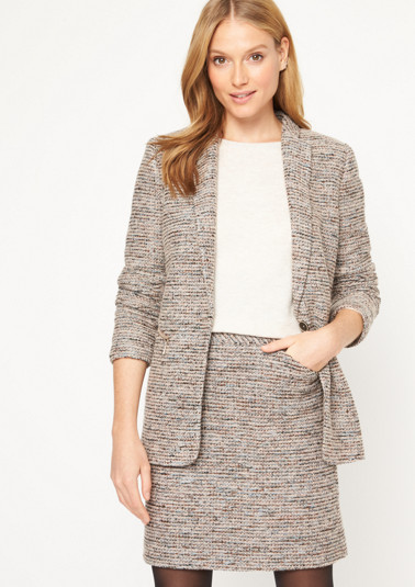 Long blazer in a multi-coloured wool look from comma