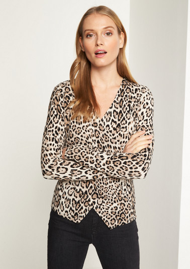Long sleeve jersey top with a leopard pattern from comma