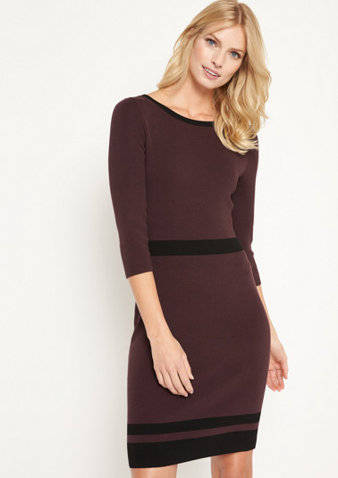 Fine knit dress with 3/4-length sleeves and decorative stripes from comma
