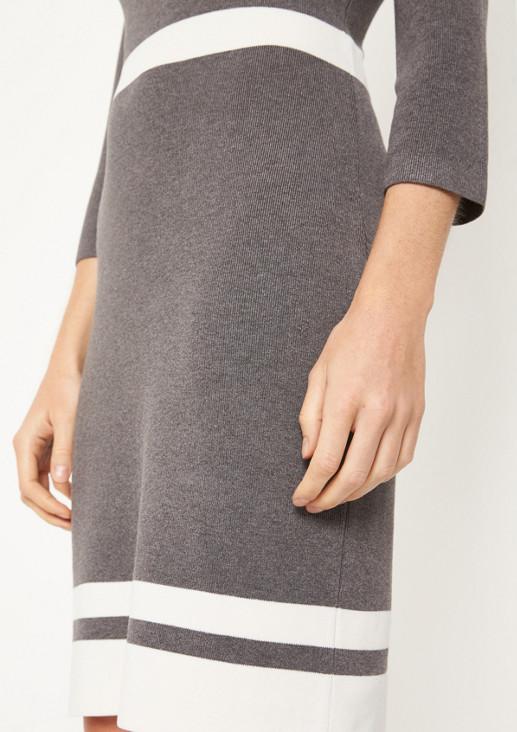 3/4-Arm Feinstrickkleid mit dekorativen Streifen