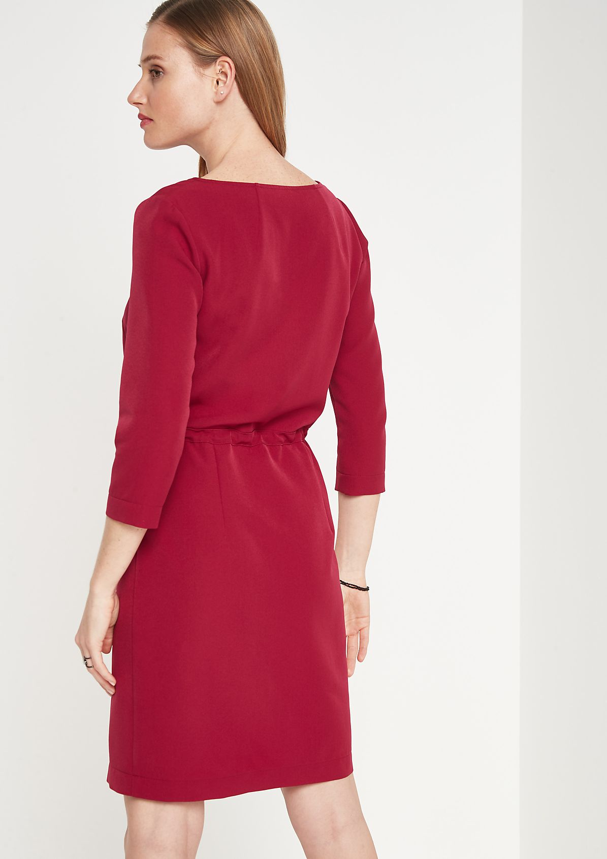 Crêpe dress with 3/4-length sleeves with ties from comma