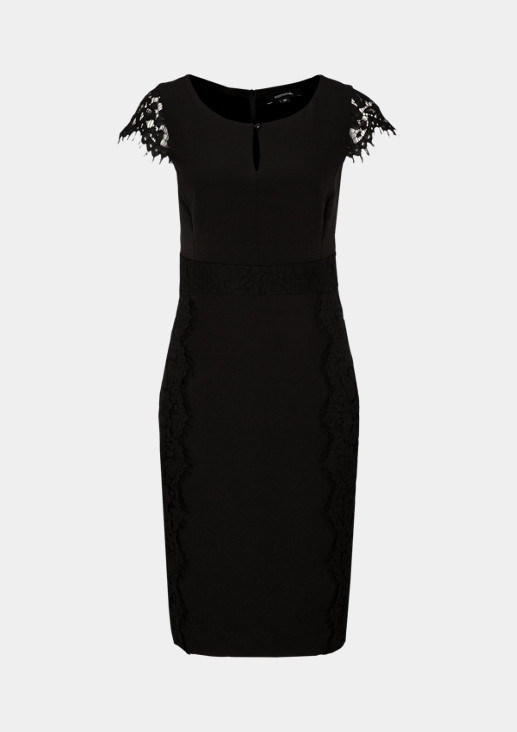 Evening gown with delicate lace embellishment from comma
