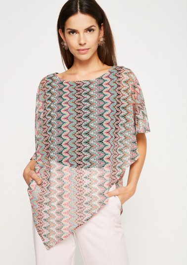Short sleeve knitted jumper in a poncho look from comma