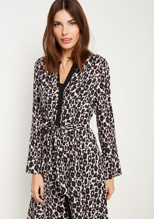 Calf-length chiffon dress in a leopard look from comma