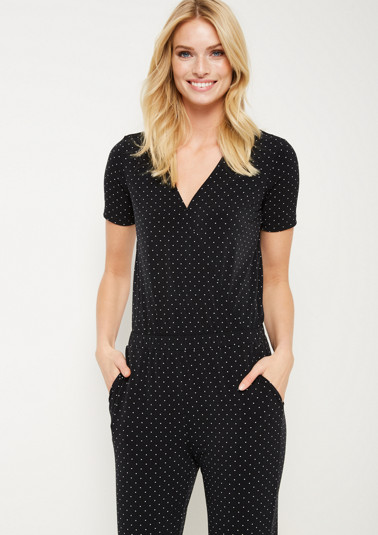 Jersey jumpsuit with a decorative polka dot pattern from comma