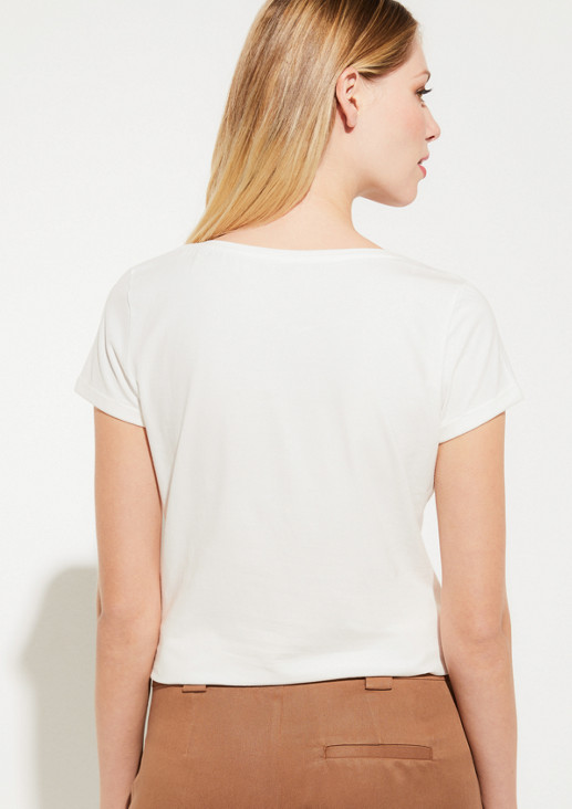 Jersey top with sparkling rhinestone embellishment from comma