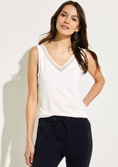 Jersey top with delicate chiffon embellishments from comma