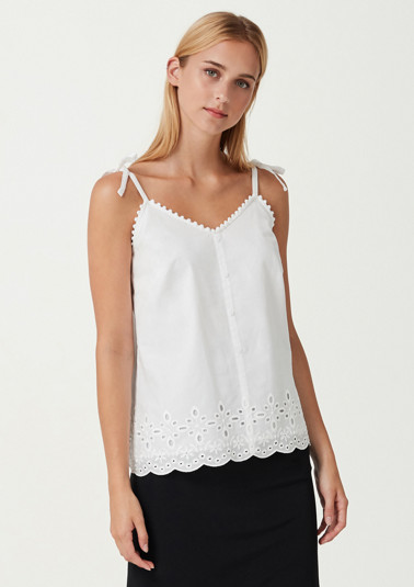 Spaghetti strap top with elaborate lace decoration from comma
