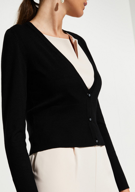 Cropped cardigan with shimmering pearl buttons from comma