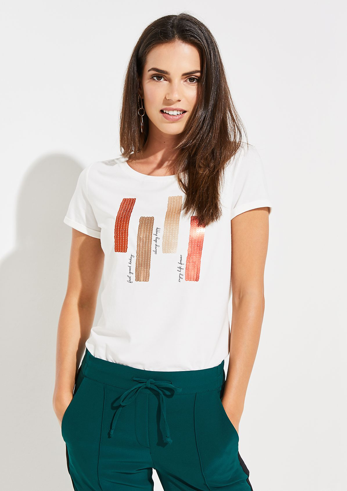 Short sleeve jersey top with a decorative front print from comma