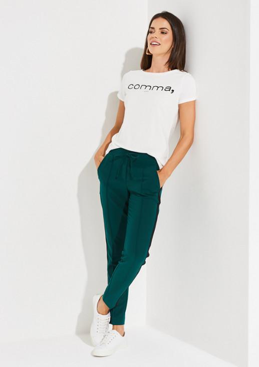 Kurzarm-Jerseyshirt mit Logo-Frontprint