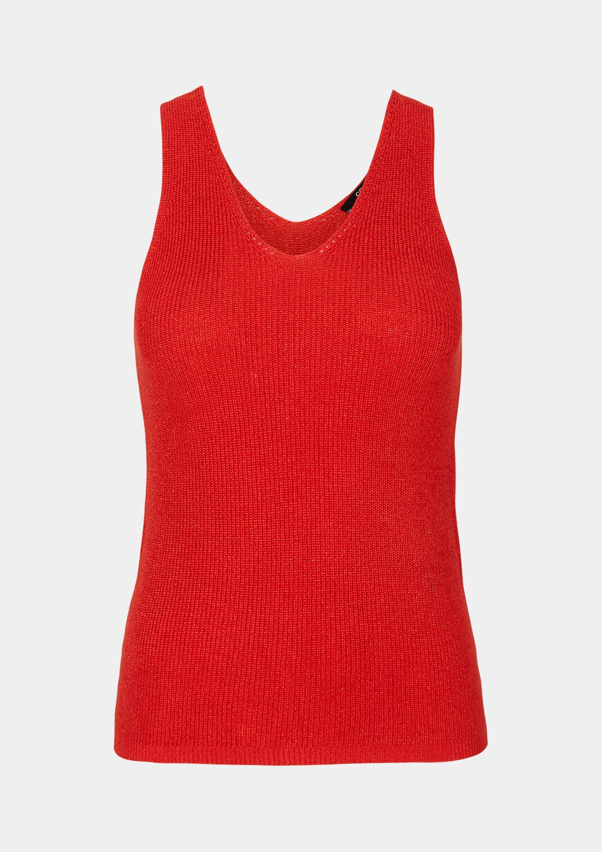 Fine knit sleeveless jumper with interwoven glitter yarn from comma