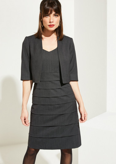 Elegant business dress with a minimalist pattern and a bolero cardigan from comma