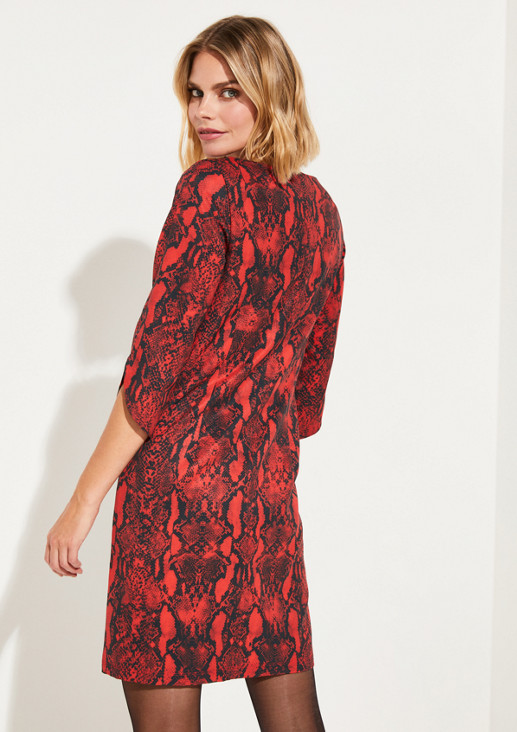 3/4-Arm Kleid mit Snakeskin-Alloverprint