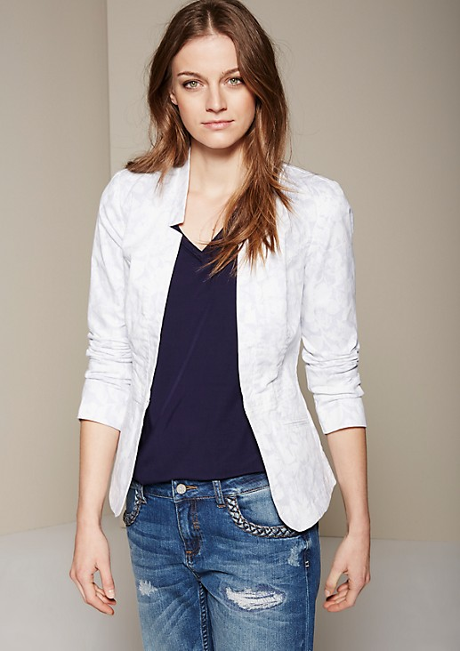 Lightweight long blazer with a beautiful all-over print from s.Oliver