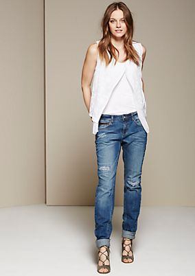 Lässige Boyfriend-Jeans in Used-Optik