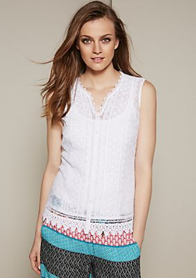 Glamorous blouse top in delicate lace from s.Oliver