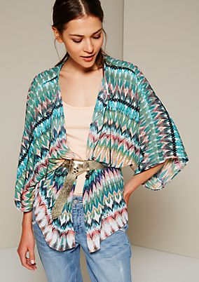 Summery crêpe poncho with a colourful all-over pattern from s.Oliver