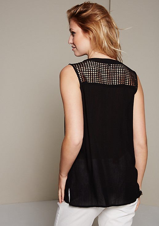 Elegant crêpe top with decorative lace details from s.Oliver