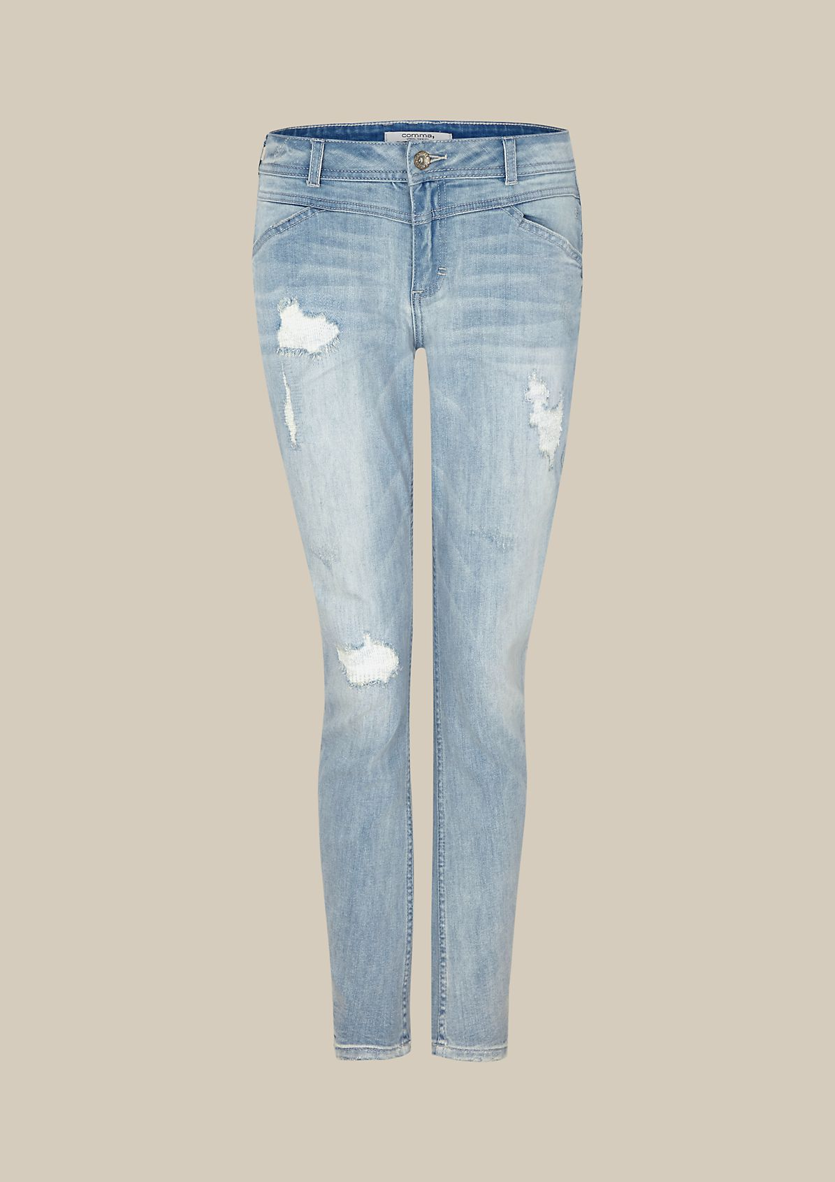 Casual jeans with elaborate repaired details from s.Oliver