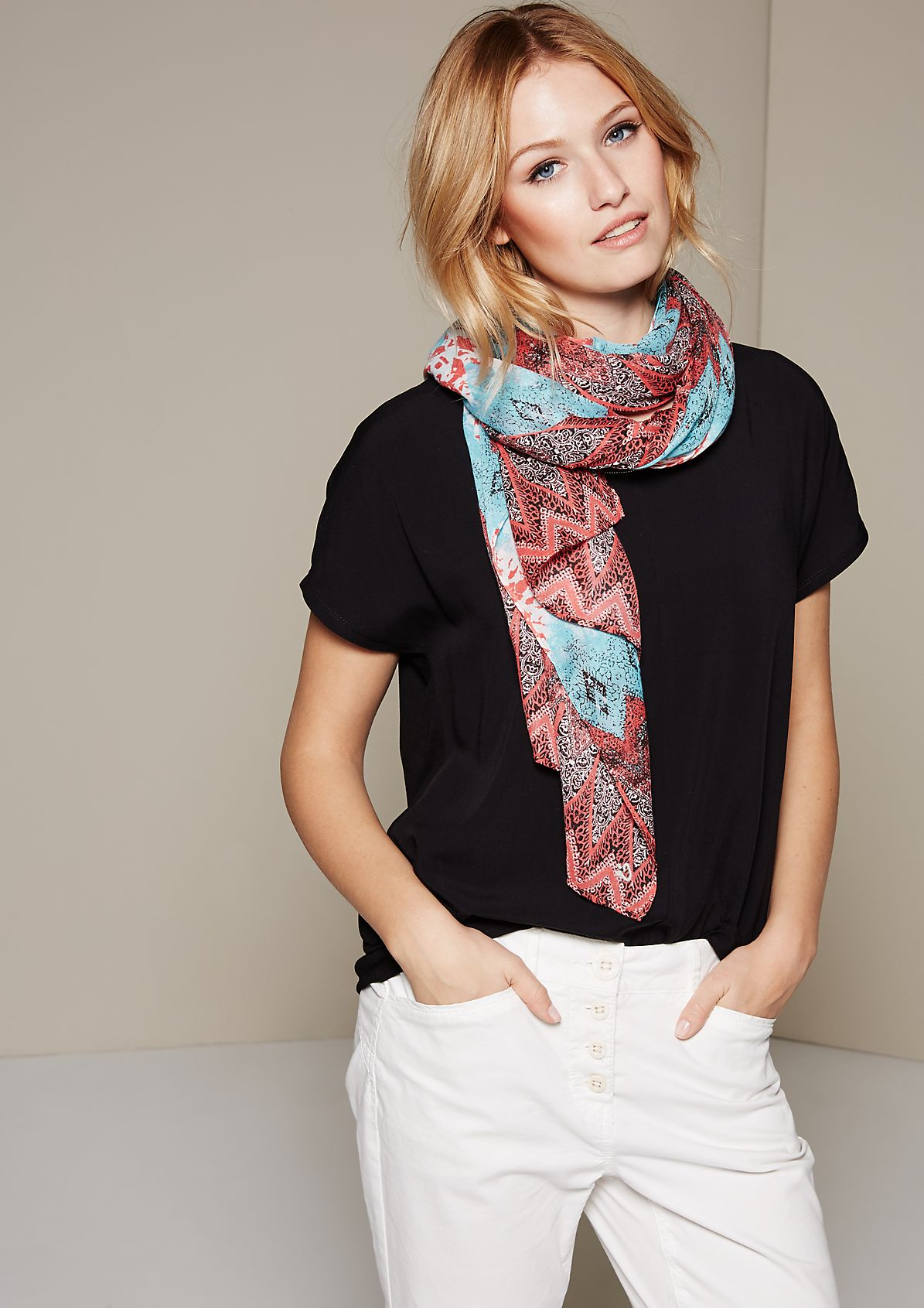 Elegant summer scarf with a beautiful all-over pattern from s.Oliver