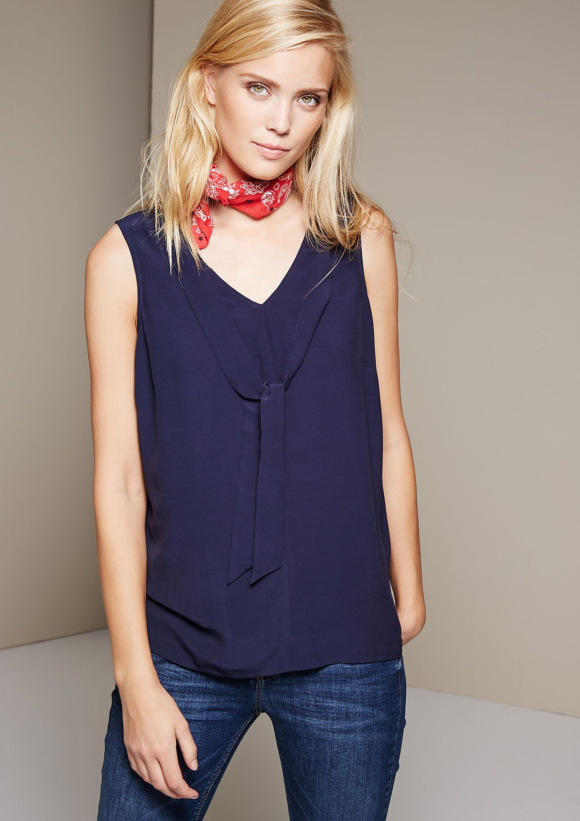 Delicate blouse top made of lightweight crêpe with decorative ties from s.Oliver