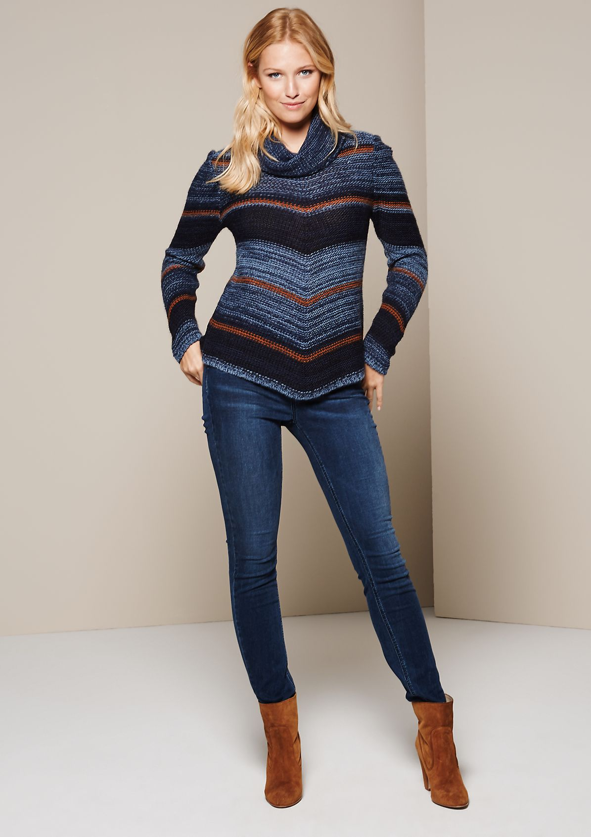 Cosy polo neck jumper with a striped pattern from s.Oliver