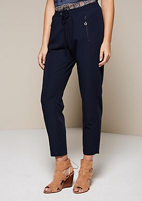 Casual, sporty trousers with drawstring ties from comma
