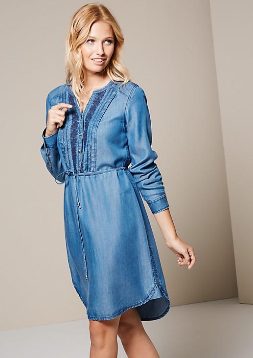 Sporty denim dress with pretty details from s.Oliver