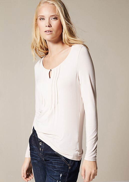 Casual long sleeve top with decorative pleats from comma
