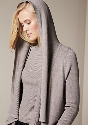 Casual cardigan with a hood from comma