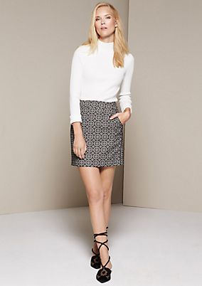 Short business skirt with a decorative jacquard pattern from comma