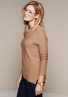 Lightweight knit jumper with a ribbed pattern from comma