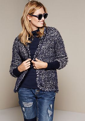 Fluffy long yarn cardigan in a two-tone look from comma