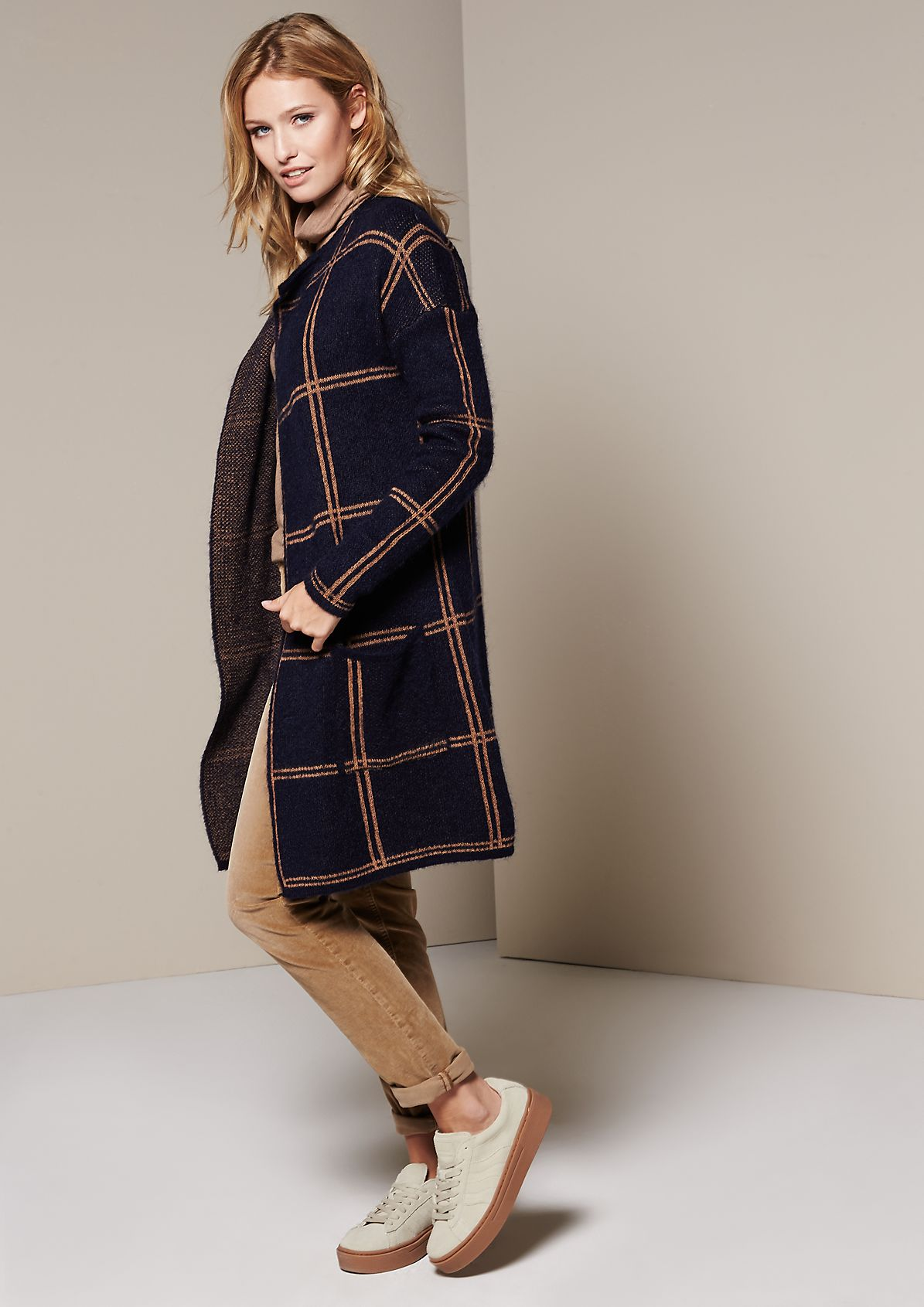 Cosy long cardigan with a classic check pattern from s.Oliver