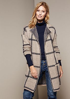 Cosy long cardigan with a classic check pattern from comma