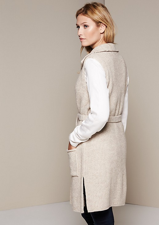 Classic long knitted waistcoat with beautiful details from s.Oliver