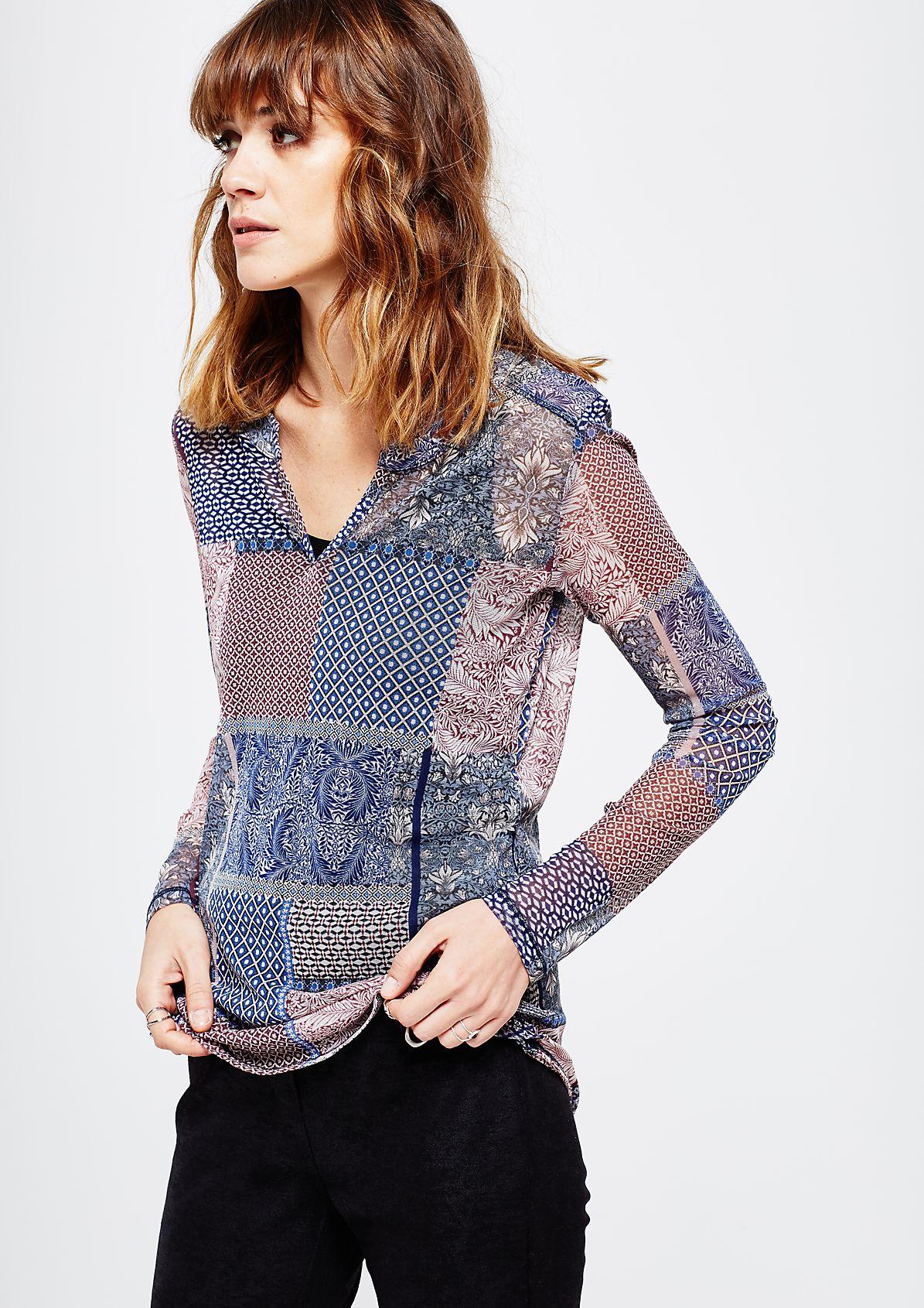 Hauchzartes Meshshirt mit liebevoll gestaltetem Alloverprint