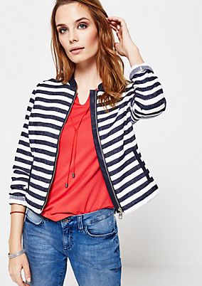 Casual short blazer with a sporty striped pattern from s.Oliver
